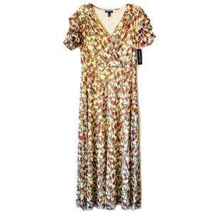 Allison Brittney Yellow Floral Maxi Dress Small